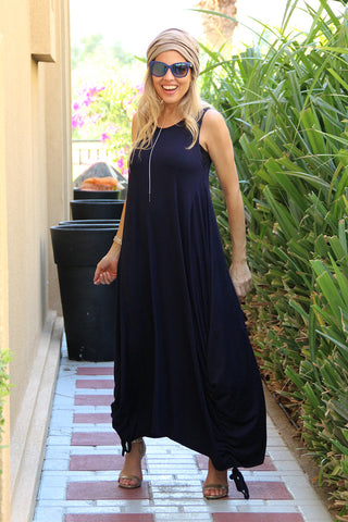Sleeveless Round Neck Cotton Maxi Dress - Navy