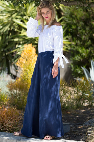 High Waist Wide Leg Pants - Navy