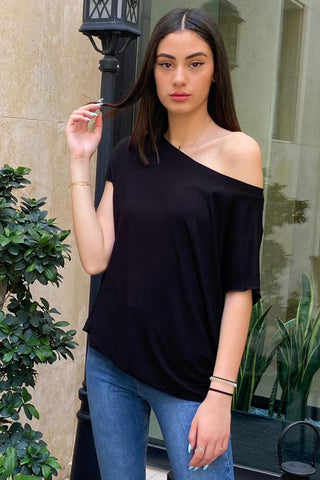 Asymmetrical Cotton Jersey Tee With An Open Neckline and Raw Finished Hems- Black (5239665557658)