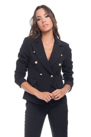 Blazer With Gold Buttons details - Black (4368612229253)