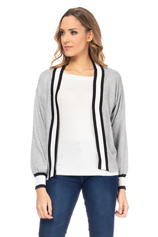 Knit Jacket with striped Cuffs & Edges - Grey