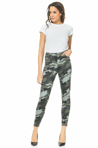 Camouflage Print Five Pockets Jeans - Green (4368600334469)