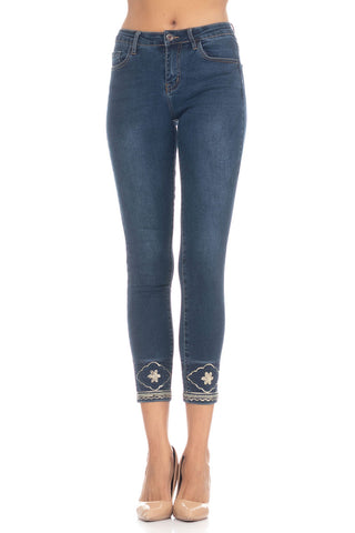 Jeans With Sequins And Embroidery - Denim