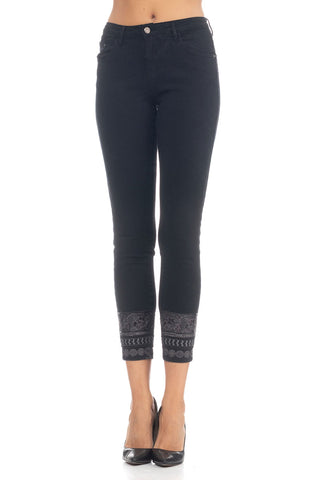 Jeans With Sequins And Embroidery - Black