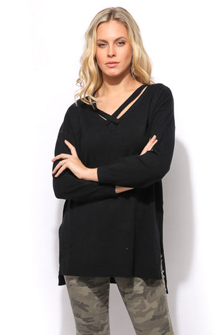 High Low Sweater Top - Black