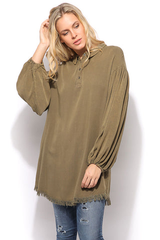 Button Up Pocket Dress - Olive