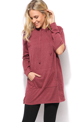 Hooded Pocket Dress - Wine - Gingerlining