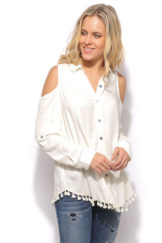 Open Shoulder Button Up Tunic - Vanilla - Gingerlining