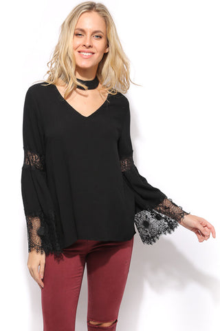 Mock Neck Lace Trim Top - Black