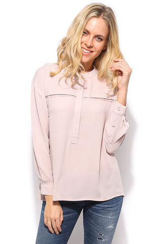 Solid Long Sleeve Blouse - Dusty Pink - Gingerlining (384682721318)