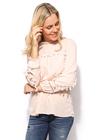 Tassel Long Sleeve Top - Blush - Gingerlining