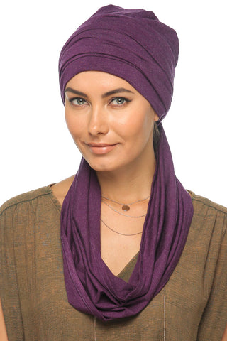 Fuzz 3 Layers Turban - Dark Violet - Gingerlining