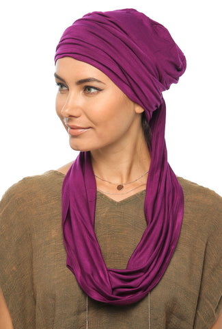 3 Layers Turban - Dark Magenta