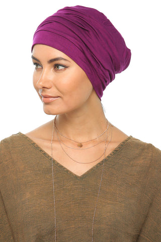 Simple Drape Turban - Dark Magenta - Gingerlining