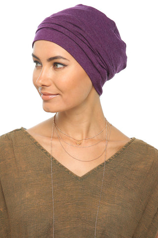 Fuzz Drape Turban - Dark Violet - Gingerlining (367071264806)