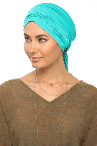 Multi-way Wrap Turban -  Turquoise - Gingerlining