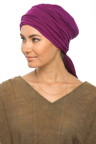 Multi-way Wrap Turban -  Dark Magenta - Gingerlining (367403139110)