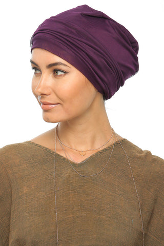 Simple Drape Turban - Dark Plum - Gingerlining