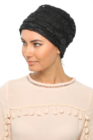 Lace Drape Turban - Black