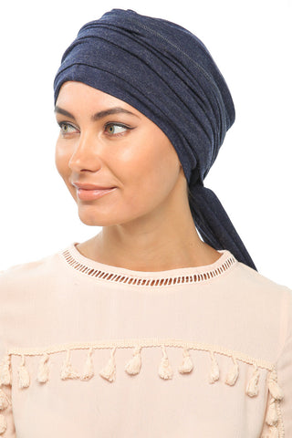 Fuzz Multi-way Wrap Turban -  Navy - Gingerlining