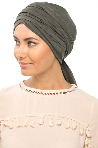 Fuzz Multi-way Wrap Turban -  Olive - Gingerlining