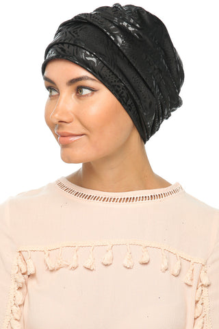 Leatherette Drape Turban - Black