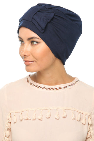 Simple Bow Turban - Navy - Gingerlining