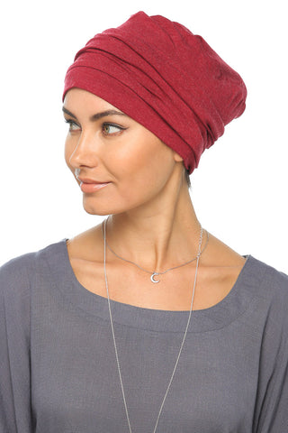 Fuzz Drape Turban -Dark Red