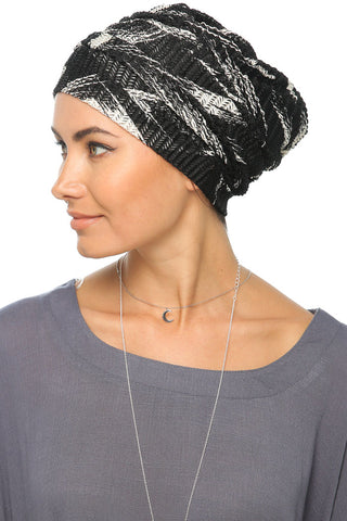 Printed Net Drape Turban - Black/White