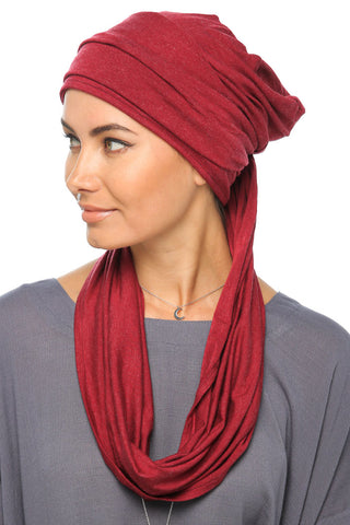 Fuzz 3 Layers Turban - Dark Red - Gingerlining