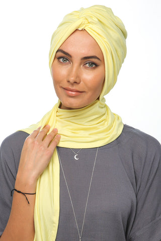 Scarfy Knot Turban - Yellow - Gingerlining