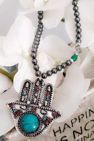 Black Beads Hamsa Stone Necklace