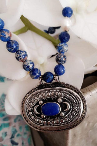 Blue Beads Blue Stone Necklace