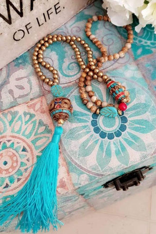 Earth Beads Tassel Necklace