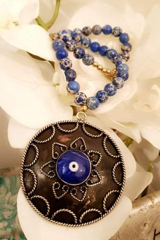 Ocean Beads Blue Eye Stone Necklace