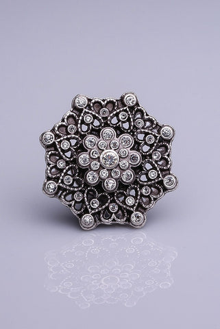 Silver Plated Magnetic Brooch - Crystal Stones