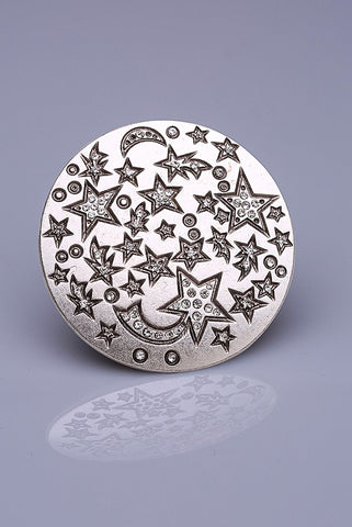 Silver Plated Magnetic Brooch - Shooting Stars
