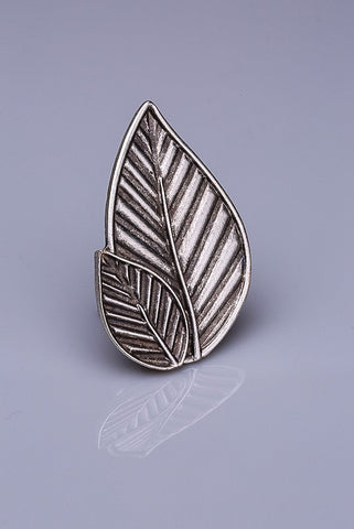 Silver Plated Magnetic Brooch - Leaf