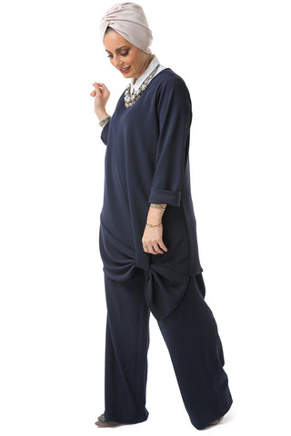 Straight Leg Trousers - Navy