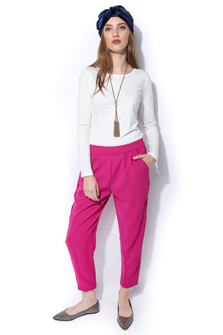 Tailored Twill Trousers - Magenta - Gingerlining