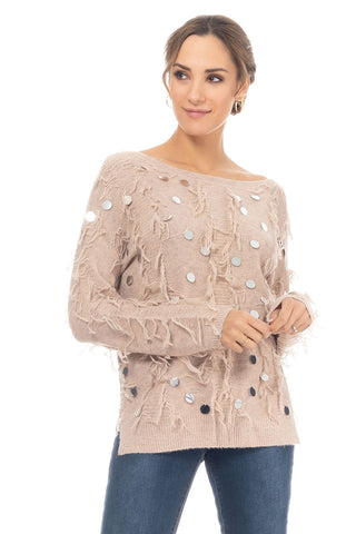 Knit Pull With Fringes And Mirror Details - Beige