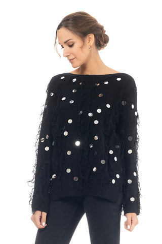 Knit Pull With Fringes And Mirror Details - Black