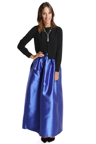 Puffy Box Pleated Skirt- Blue