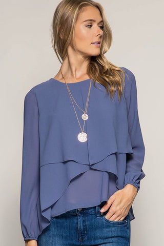 Silk Layered Drape Blouse - Blue