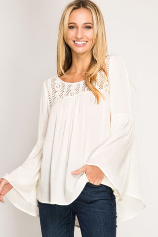 Long Bell Sleeve Lace Top - Cream
