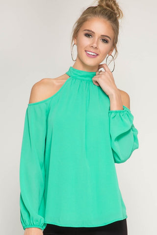 Silk Cold Shoulder High Neck Top - Jade Green