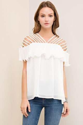 Strappy Cutout top - Off White