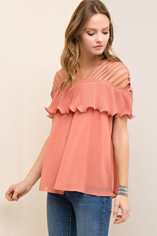 Strappy Cutout top - Salmon - Gingerlining