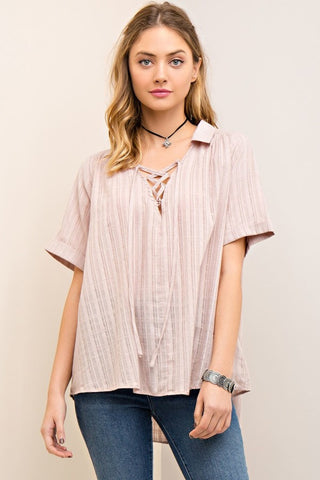 Hi-Low Sheer Lace Up Top - Mocha - Gingerlining (8776506641)