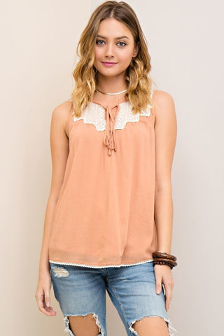 Crochet Self Tie Sleeveless Blouse - Dusty Peach - Gingerlining (9058825809)